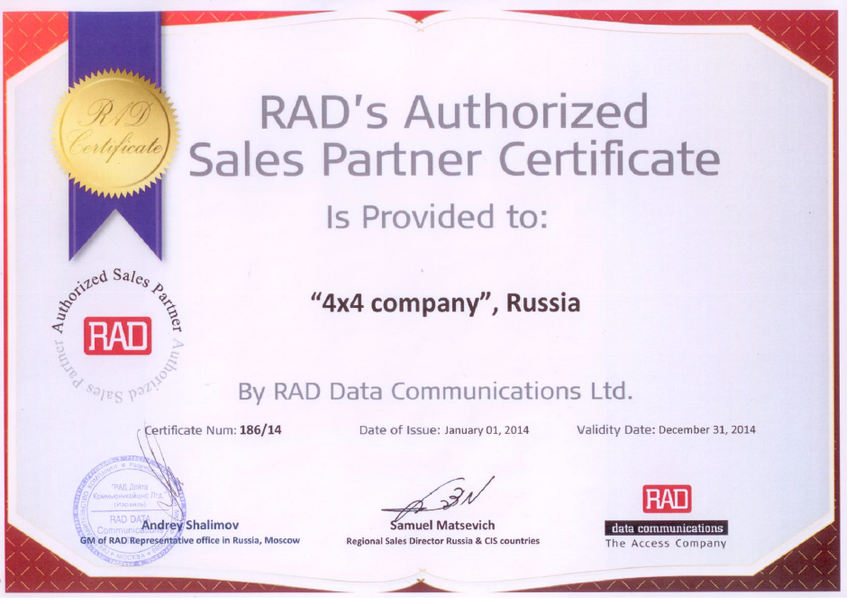Certificate 4x4 RAD Authorized Partner 2014