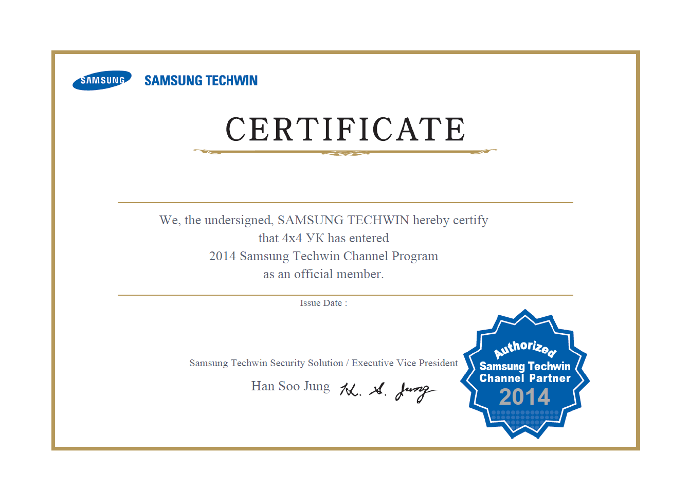 Certificate 4x4 Samsung Techwin Channel Partner 2014
